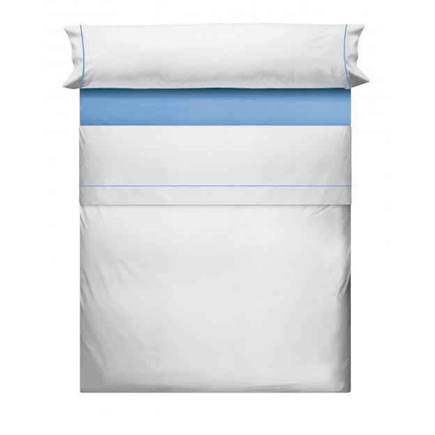 Juego de Sabanas Liso Blanco Azul 695