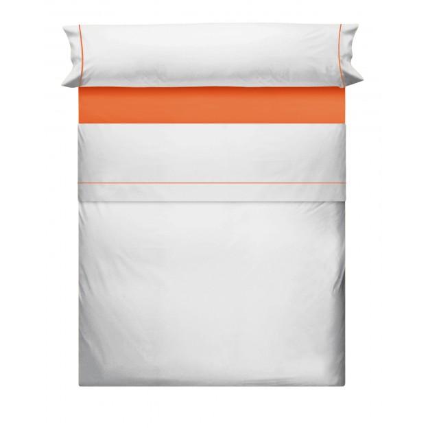Juego de Sabanas Liso Blanco Naranja 993