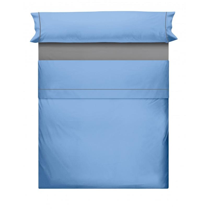 Juego de Sabanas Liso Azul Gris 866