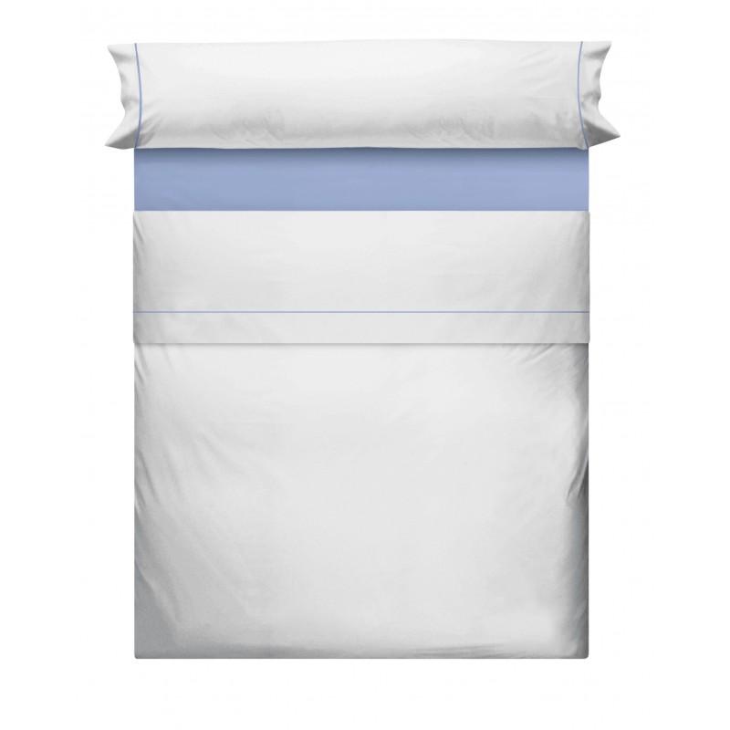 Juego de Sabanas Algodon Liso Blanco Azul 695